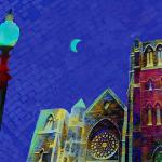 "Moon Over Cathedral Limited Edition (100) signed & numbered (Copyright © 2015 Paula Ogier) 16"" x 20"", $210"