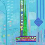 "Radio City Music Hall (blue) NYC (Copyright © Paula Ogier 2019) 18"" x 24"" / $135"
