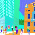 The Old State House  (left half of a diptych for Boston Children's Hospital)  Copyright © 2017 Paula Ogier